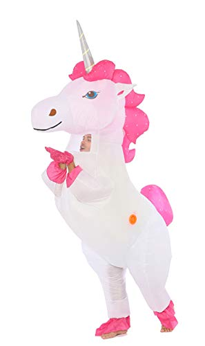 Funny Costumes Inflatable Dinosaur & Unicorn Hoodies Party Dress Halloween Costumes for Women (Unicorn Silver-Horn L)