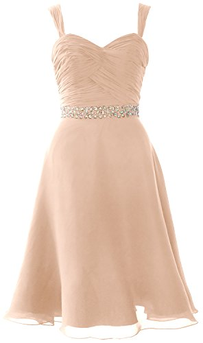 Formal Party Cocktail Straps Wedding Gown Chiffon Elegant Bellini Dress MACloth Short H0F8x0f