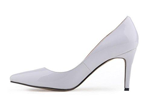 Heels Slip Spitze Pumps Weiß PU Stiletto Zehen High Damenmode Schuhe On Lack q4wFg0