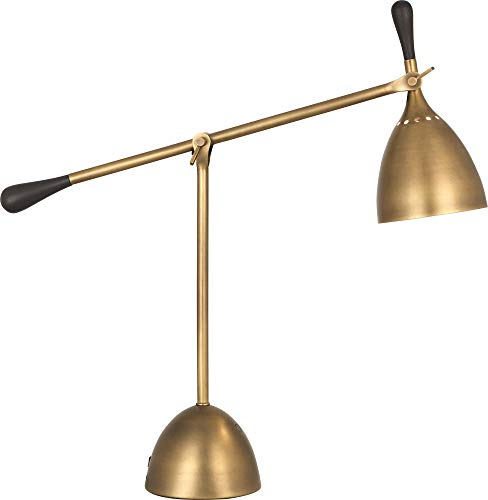 Robert Brass Table Lamp - Robert Abbey Ledger Warm Brass Metal Desk Lamp with USB Port