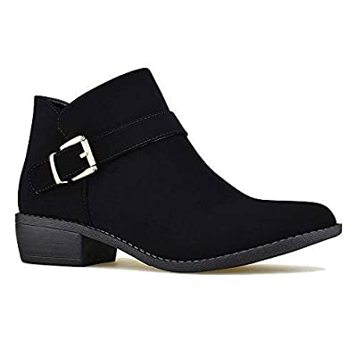 Z. Emma Women's Nubuck Side Zip Buckle Booties Chunky Low Heel Round Toe Casual Ankle Boots GF Black 6.5 | Ankle & Bootie