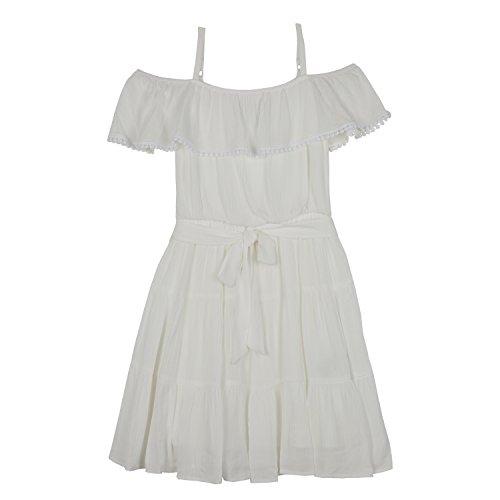 Amy Byer Girls' Big Shoulder Dress, Ivory, 14 -