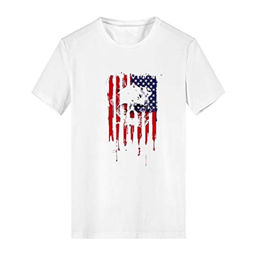 (Yunisu Men Tops American Flag Taro Print Casual Comfort Independence Day Modal Short Sleeve White)