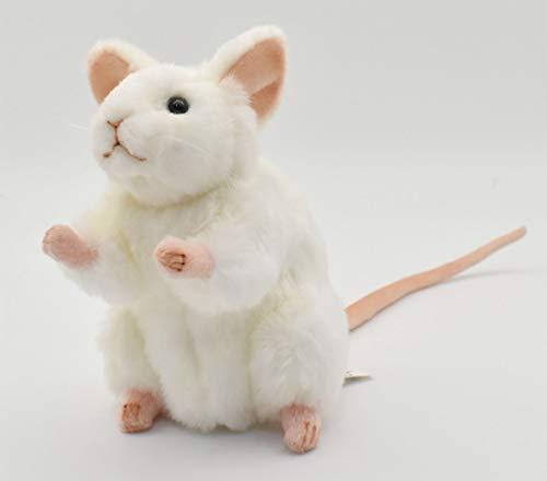 "Hansa White German Mouse Plush Animal Toy, 6"""
