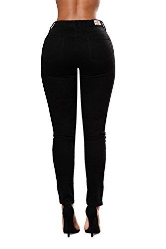 Leggings Mujer Luckywe Elástico elástico Pantalones Vaqueros Flacos bordado Cintura AOHpgIqHw