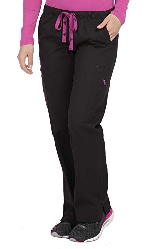 Med Couture Originals Women's Mobility Bootcut Drawstring Scrub Pant Large Black/Raspberry Bootcut Scrub Pants