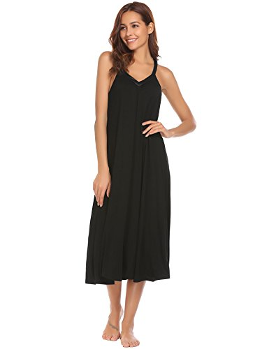 Ekouaer Women's Sleeveless Long Nightgown Slip Full Length Night Dress Cotton Sleepshirt Chemise