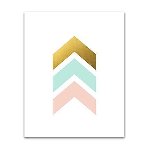 Chevron Wall Print in pink, mint and faux matte gold - Unframed Art