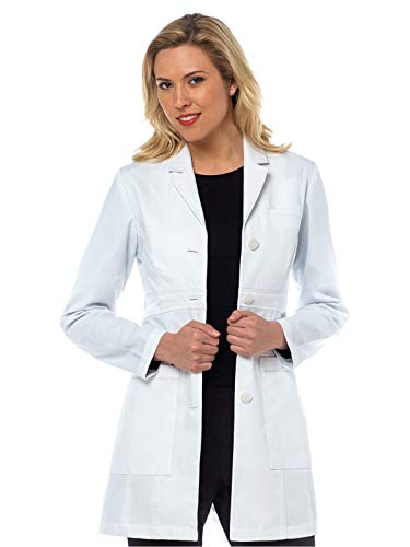 Med Couture Women's Tailored Empire Mid Length 32 inch Lab Coat, White, 8