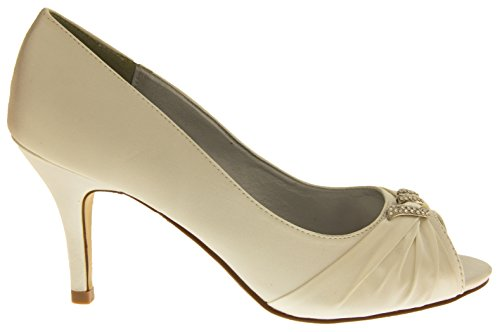Womens Wedding Shoes Diamante Formal Party Pumps Slip On Peep Toe Kitten Heels Ivory xtQEZp