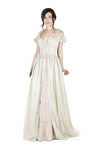 Boho Set Medieval Irish Costume Chemise and Over Dress (2XL/3XL, Cream)]()