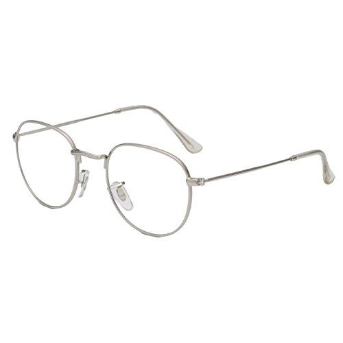 Simvey Oval Vintage Designer Round Circle Eye Glasses Metal Frame Clear Lens - Wire Eyeglasses
