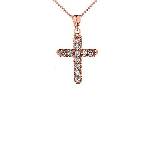 Elegant 14k Rose Gold Diamond Mini Cross Pendant Necklace, 22