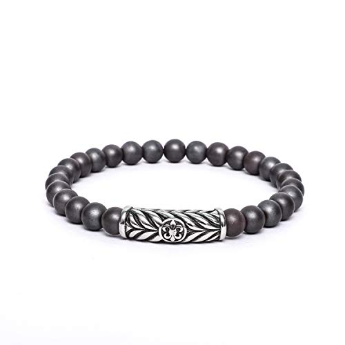 Fleur De Lis Embossed French Royal Symbol 8mm Beaded Link Stretch Mens Bracelet Stainless Steel - Matte Hematite