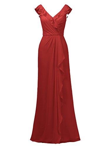 Long Neck Ruffles Evening Red Women V Prom s with Dress Party Dress Alicepub Bridesmaid pYEwq
