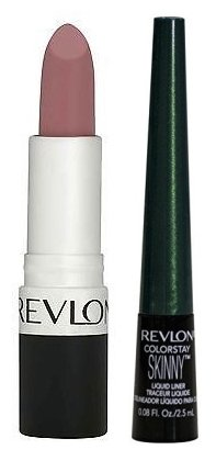 Cosmetics by Revlon Colorstay Skinny Liquid Liner Green Spark and Super Lustrous Lipstick Pink Pout Bundle Precise Definition, Dramatically Bold Looks, Smudge Proof, Intense Color, -