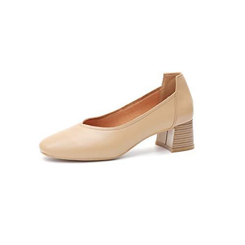 Pequeños Mujer Otoño Moda De Boca Cuero Mujer con Nuevos De apricot YXLONG Espesor Baja De De Zapatos Gruesa Suela Zapatos Udaqawp