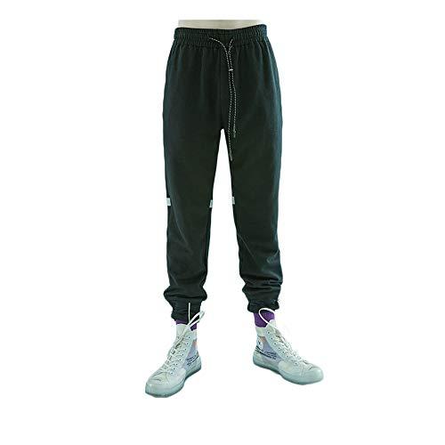 viga Tira con de Black Deportes los Casuales Hombres pie XL Otoño Reflectante Size Pantalones Hhpcspc Color cordón Cintura elástica de Estiramiento del Green gfqP8cxwI