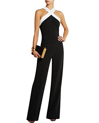 Aro Lora Women's Halter Neck Criss Cross Wide Leg Long Pants Jumpsuits Rompers Large Black (Halter Neck Jumpsuit)