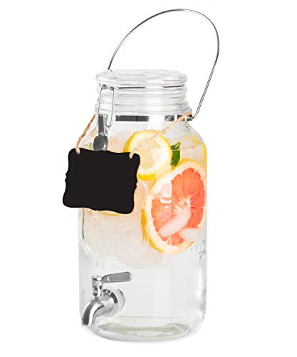 - Outdoor Glass Beverage Dispenser with Stainless Steel Spigot, Handle & Hanging Chalkboard - Drink Dispenser for Lemonade, Tea, Cold Water & More