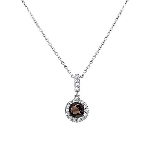 Robert Manse Designs Gem RoManse Rhodium Plated Sterling Silver Gemstone Drop with White Topaz Halo Pendant Necklace (Smoky-Quartz)
