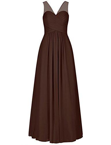 Neck Cdress Prom V Bridesmaid Chocolate Formal Long Sheer Party Dresses Straps Dress Chiffon txRrfxw