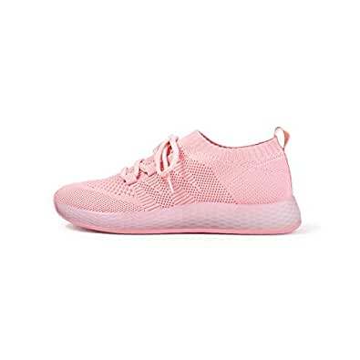 YXWL Sneakers for Women, Mesh Sports Shoes Breathable Pink Girl Casual Shoes Soft Bottom Running Shoes (Color : Pink, Size : 34EU)