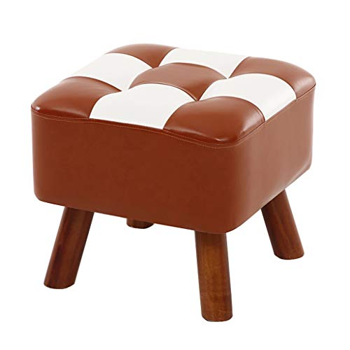Luxury Change Shoe Stool PU Leather Seatting and Solid Wood Frame Footstool Upholstered Footrest Dressing Stool