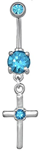 Surgical Steel Light Blue Jeweled CZ Cross Dangle Belly Button Ring