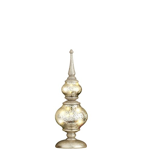 Collections Etc Lighted Mercury Tabletop Finial Figurine, Silver, Small