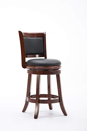 Hardwood Swivel Bar Stools - Boraam 49824 Augusta Counter Height Swivel Stool, 24-Inch, Cherry