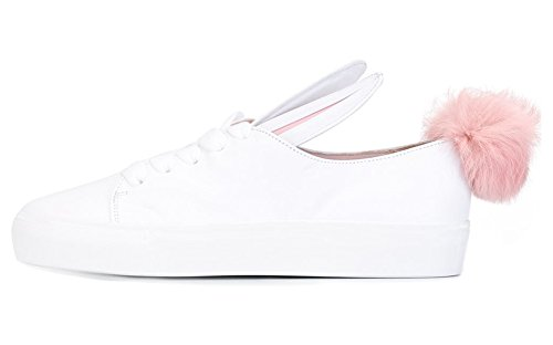 Kids Bunny Shoes (ZXD BUNNY-I Fashion Women Low Top Stylish Lace Up Sneakers Skateboard Lovely Dress Shoes For Teen Girls White 7.5 B(M)US Women)