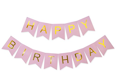 Keira Prince Happy Birthday Banner, Party Decorations, Versatile, Beautiful, Swallowtail Bunting Flag Garland, Chic White and Gold (Pink)