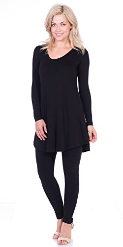 1c85e74fe0dc93 Popana Women's Tunic Tops For Leggings - Long Sleeve Vneck Shirt - Regular  and Plus Size