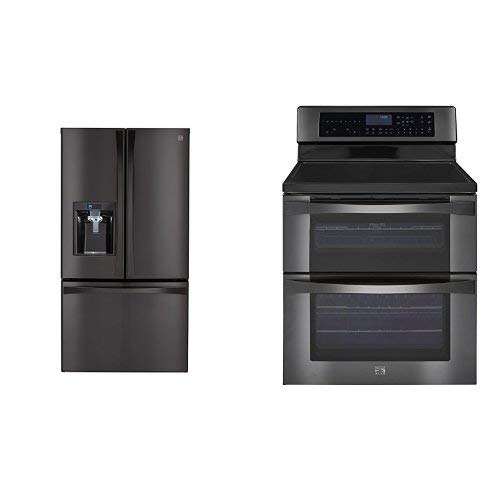 Kenmore Elite 28.7 cu. ft. French Door Bottom Freezer Refrigerator and  Kenmore Elite 6.7 cu. ft. Self Clean Electric Double Oven Range bundle, both in Black Stainless Steel, includes delivery and hookup