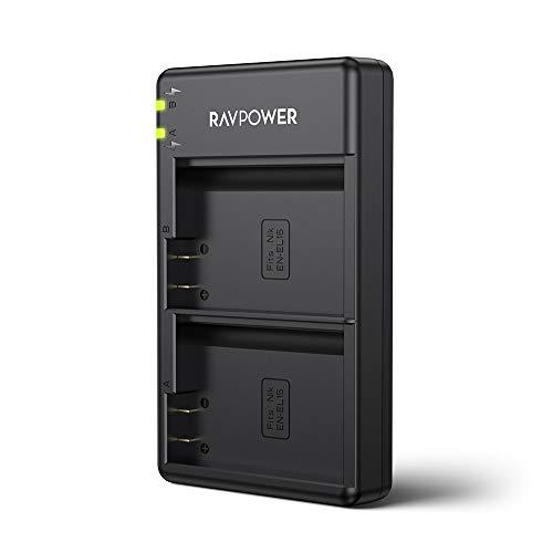 EN-EL15 EN EL15a RAVPower Dual Slot Battery Charger Compatible with Nikon D750, D7200, D7500, D850, D610, D500, MH-25a, D7200, Z6, D810 Batteries(Micro USB Port)