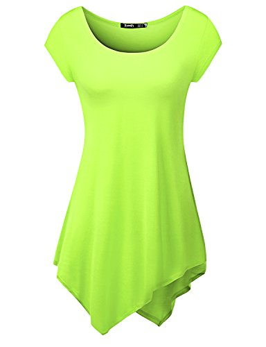 Womens Short Sleeve Comfy Long Tunic With Various Cut-Out Unbalanced Tunic