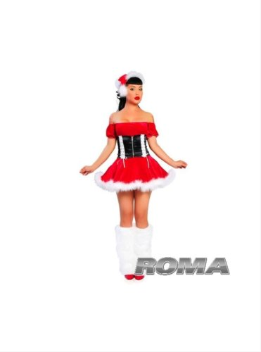 - 2Pc Santa's Helper. Includes Marabou Trimmed Dress And Waist Cincher. Hat Style X-Hat Not Included.(AS SHOWN,SM)