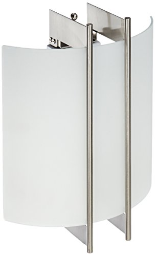 Lite Source LS-1673 Checks Polished Steel 60-watt Wall Sconce with Frost Glass Shade