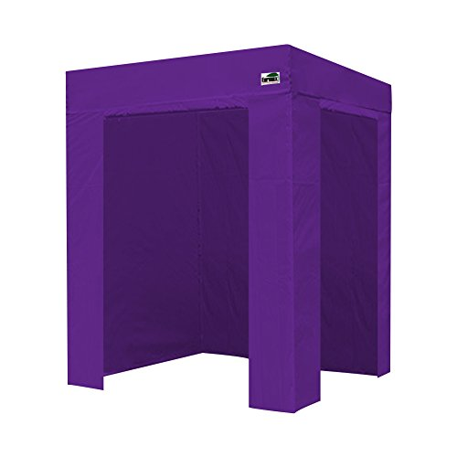 Eurmax Basic Photo Booth 5x5 Flat Top Pop up Canopy Folding Tent W/4 Zipper Sidewalls & Carry Bag (Purple)