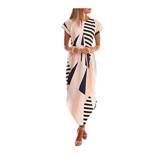 (Boho Long Maxi Dress Beach Waist Skirt Sundress Cocktail Party Floral Skirt by WOCACHI White)