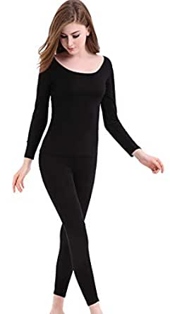 CnlanRow Womens Thermal Underwear Set - Winter Long Johns Ultra Thin Crew Neck Pajamas Black