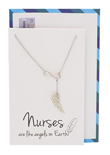 Quan Jewelry Medical Nurse Necklace, Infinity Angel Wings Pendant, Gifts for Registered Nurse and Nursing Student, RN Gift Charm, Nurse Inspirational Jewelry on Quote Card (Gift Ideas For Someone Graduating Nursing School)