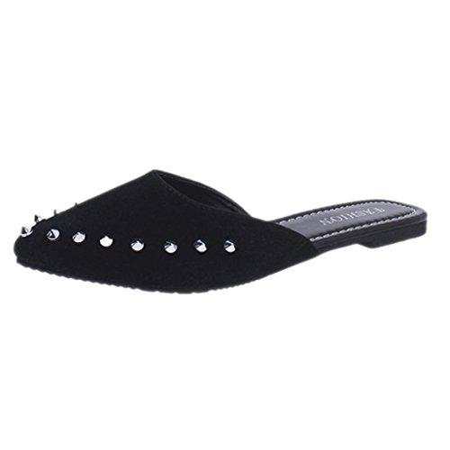 Fheaven Dames Suede Klinknagels Platte Schoenen Puntschoen Slipper Sandalen Zwart