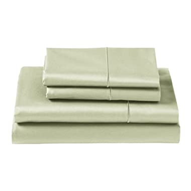 CUDDLEDOWN 400 Thread Count Fitted Sheets, Queen, Sage