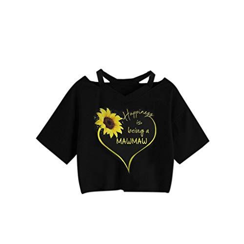 KI-8jcuD Women's Short Tops Love You 3000 Times Printed Straps Short-Sleeved T-Shirt Tops ()