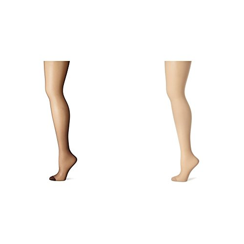 Hanes Women's 2 Pack Control Top Reinforced Toe Silk Reflections Panty Hose, Barely Black/Nude, A/B ()