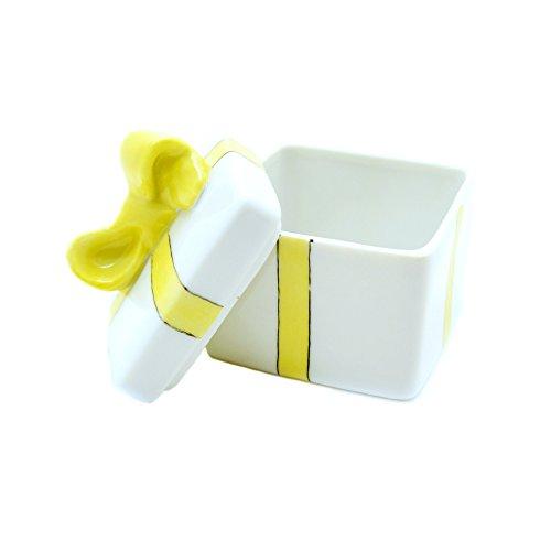 Lomoges France Porcelain Trinket Box ~ Yellow Bow
