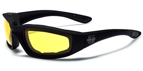 Choppers Padded Bikers Sport Sunglasses BLACK YELLOW