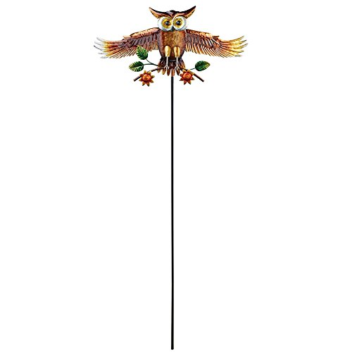 Metal Animated - Collections Etc Animated Flying Owl Decorative Garden Stake for Outdoors, Metal Yard Art, Lawn Ornament